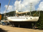 Tiki as we first saw her in Edge's boatyard Airlie Beach